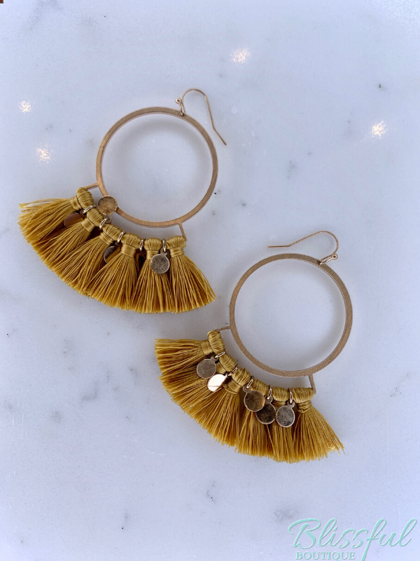 Circle & Disc Tassel Earrings- Mustard