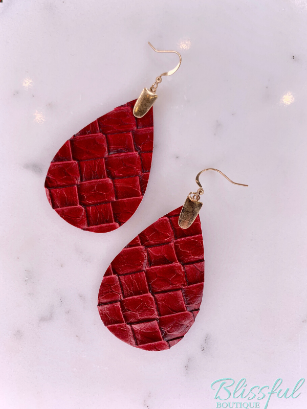 Red Faux Leather Dangle Earrings
