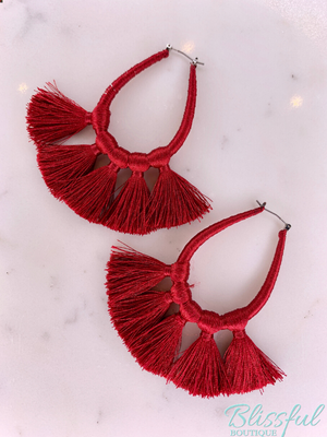 Threaded Teardrop Tassel Earrings- Burgundy