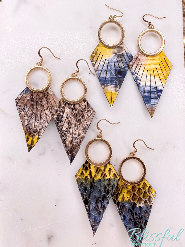 Snake Skin Leather Feather Earrings