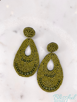 Teardrop Beaded Statement Earrings- Olive