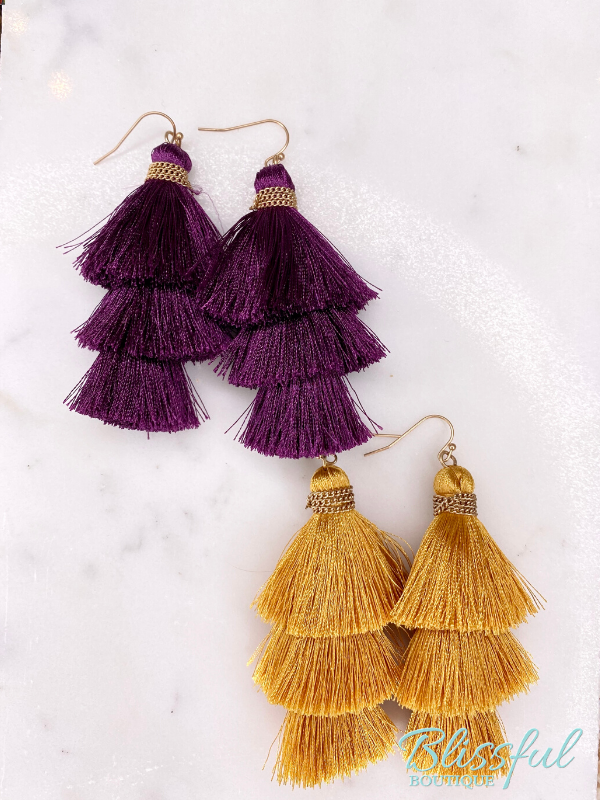 Layered Tassel Earrings- Purple and Gold