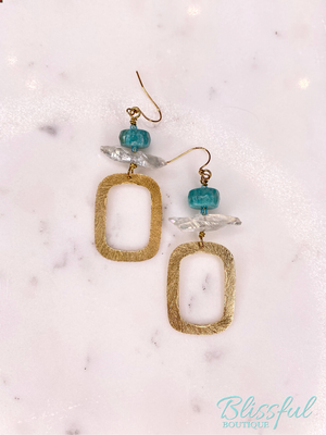 Stone & Rectangle Drop Earrings- Turquoise Stone