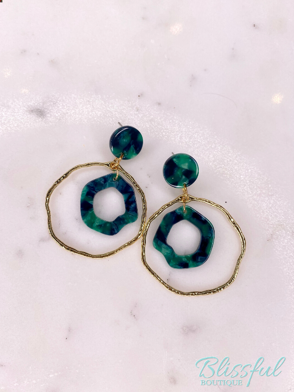Green & Gold Hoop Earrings