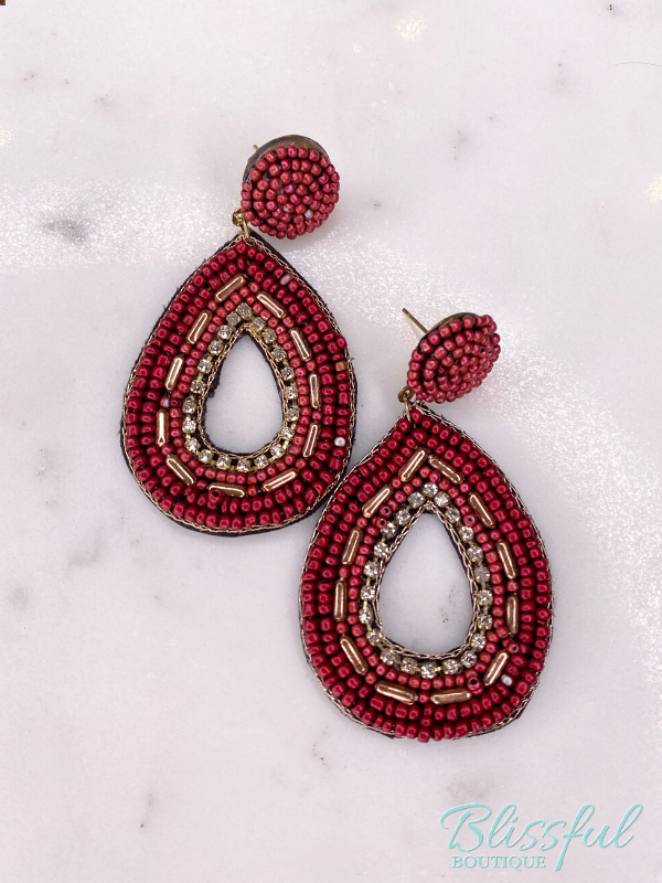 Beaded Teardrop Boho Earrings w/Rhinestones (Red)
