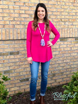 Fuchsia Long Sleeve Layering Tunic