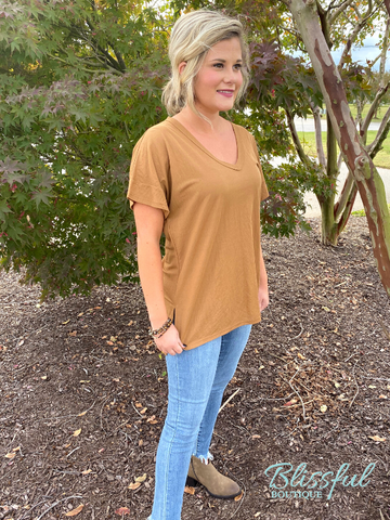 Deep Taupe V-Neck Short Sleeve Top