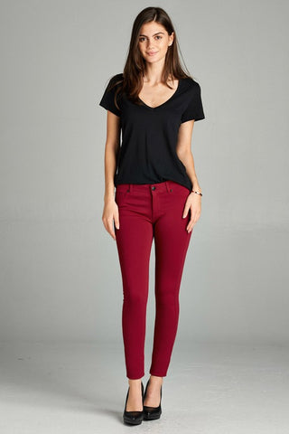 Spicy Rust Skinny Ponte Pants