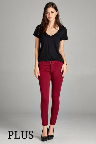 Spicy Rust Skinny Ponte Pants, PLUS