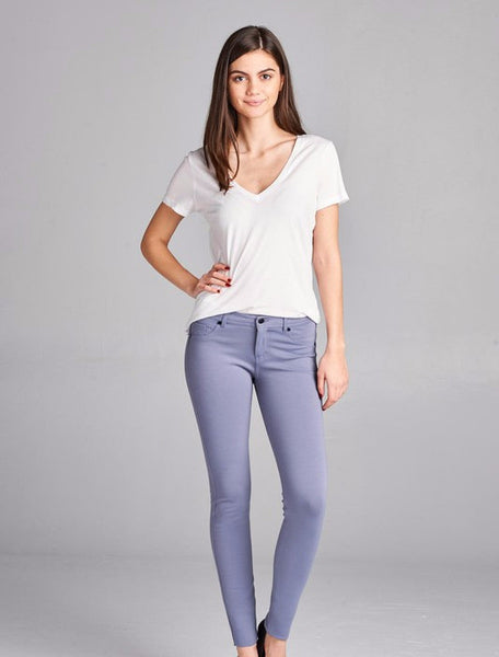 Dusty Blue Skinny Ponte Pants, PLUS