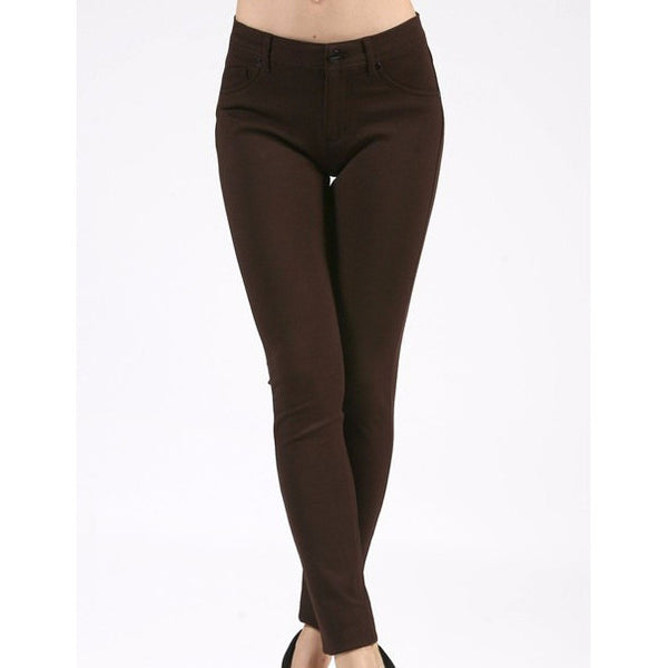 Brown Ponte Pants, Plus - Blissful Boutique