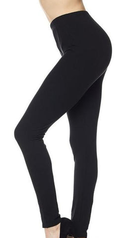 Black Brushed Solid Leggings - Blissful Boutique