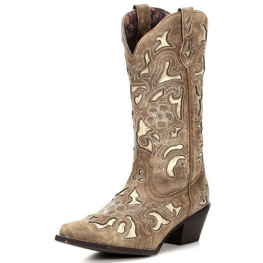 Tan Cutout & Tool Underlay Cowgirl Boots - Blissful Boutique