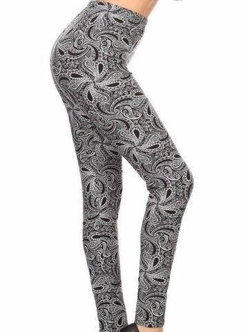 Black & White Paisley Printed Leggings