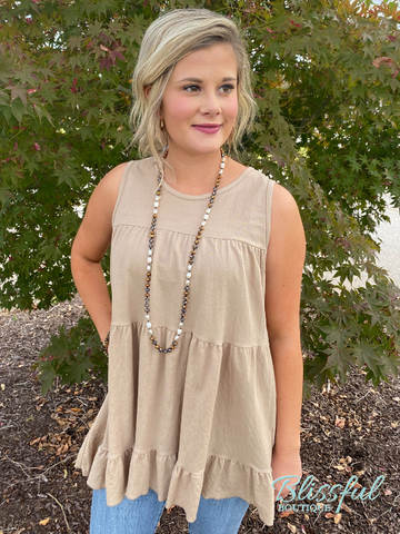 Taupe Tiered Sleeveless Layering Top
