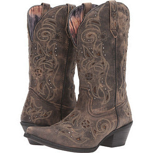 Brown Distressed Snip Toe Cowgirl Boots