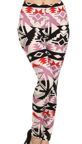 Lilac & Black Aztec Printed Leggings