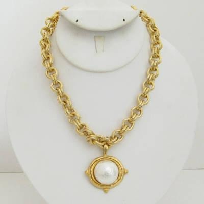 Susan Shaw Gold Cotton Pearl Necklace