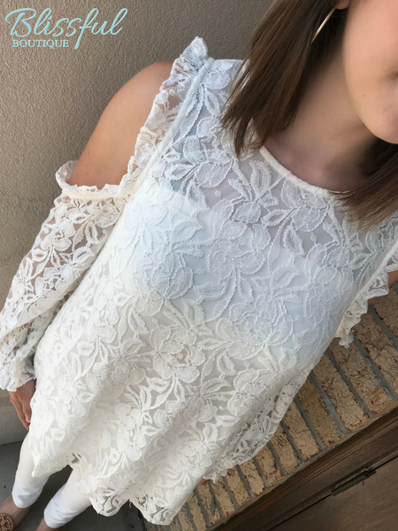 Off-White Lace Top w/ Open-shoulder & Ruffle Trim