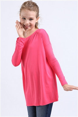 YOUTH Fuchsia Piko Longsleeve Top - Blissful Boutique