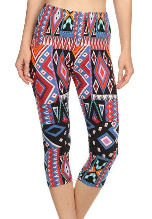 Colorful Geometric Capri Printed Leggings