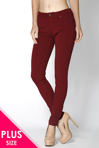 Red Brick Ponte Pants, Plus - Blissful Boutique