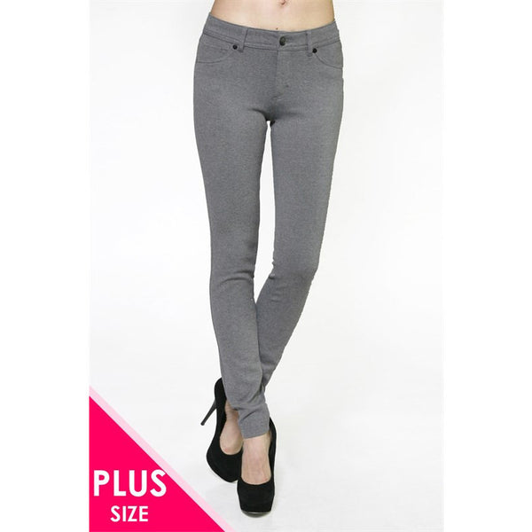 Heather Grey Ponte Pants, Plus - Blissful Boutique