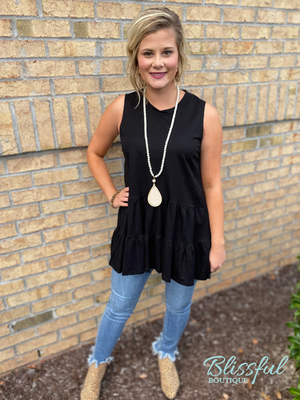 Black Tiered Sleeveless Layering Top