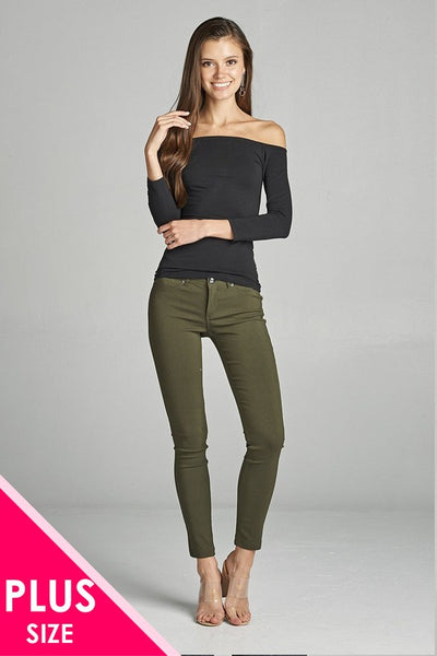 Olive Skinny Ponte Pants, PLUS - Blissful Boutique