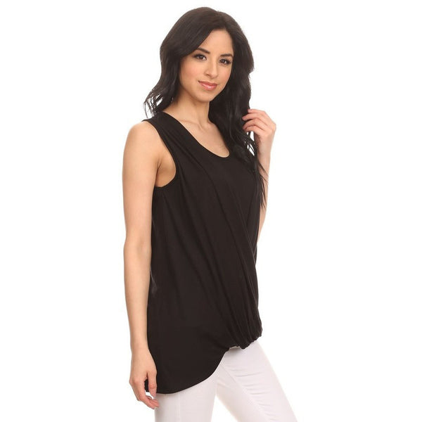 Black Draped Front Layered Top