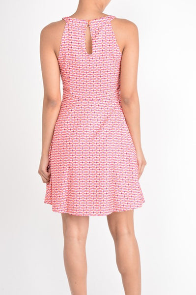 Pink Printed Fit & Flair Sleeveless Dress