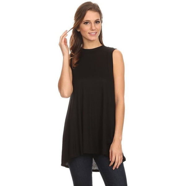 Black Ribbed Sleeves Tunic Tank
