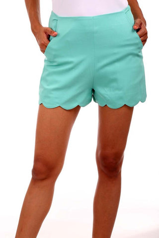 Aqua Mint Scalloped Bottom Shorts