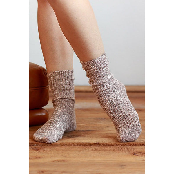 Two Tone Knitted Wool Like Socks