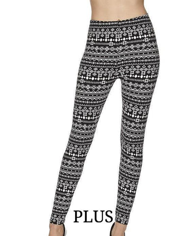 PLUS Aztec Snowflake Printed Leggings - Blissful Boutique