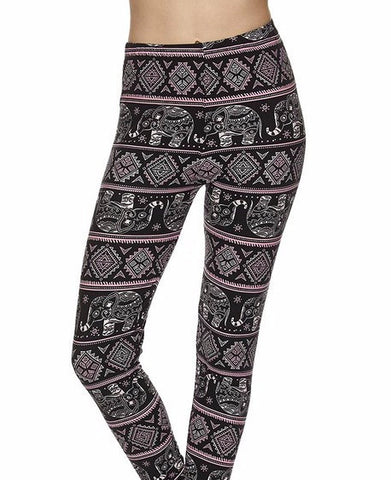 Pink & Black Elephant Printed Capri Leggings