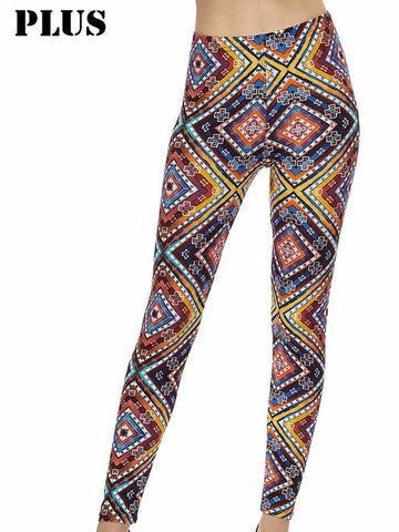 Colorful Diamond Printed Leggings, PLUS - Blissful Boutique
