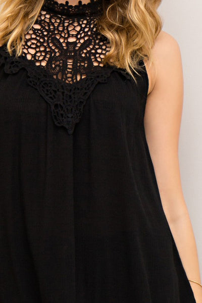 Black Halter Top featuring Crochet Detail