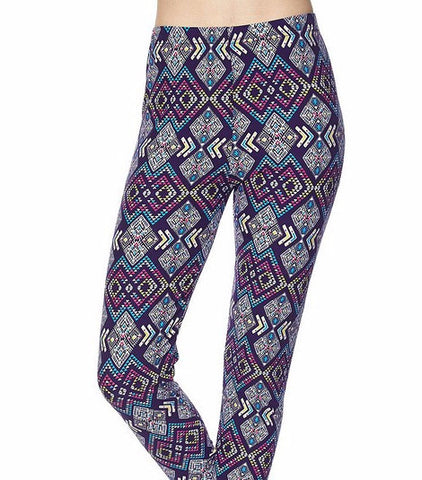 Navy Diamond Printed Capri Leggings