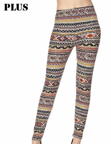 PLUS Tribal Printed Leggings - Blissful Boutique