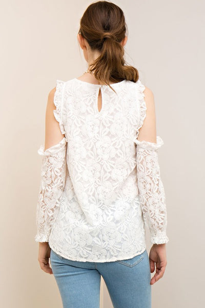 Off-White Lace Top w/ Open-shoulder & Ruffle Trim - Blissful Boutique