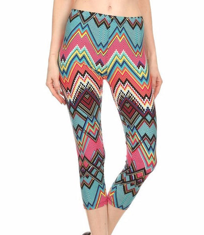 PLUS Bright Color Printed Capri Leggings