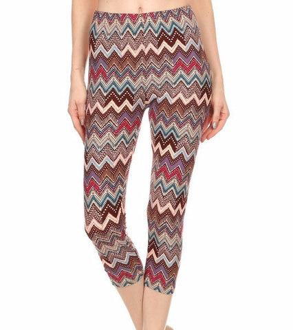 Multi-Color Printed Capri Leggings