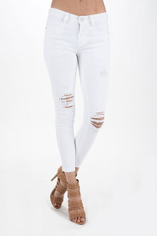 White Cropped Skinny Distressed Denim