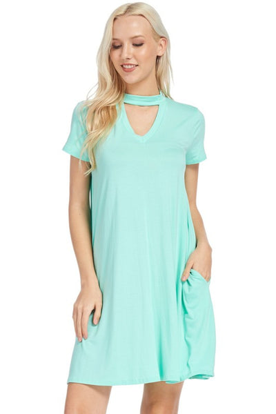 Mint Cutout Neckline Tee Dress