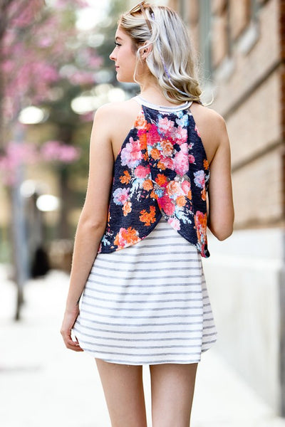 Navy Floral Layered Sleeveless Top
