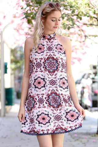 Ivory & Blush Print High Neck Dress