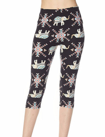 Elephant Printed Capri Leggings