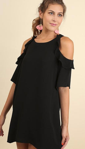 Black Cold Shoulder Dress w/ Ruffle Details