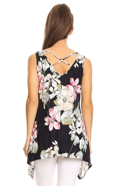 Floral Sharkbite Hem Sleeveless Tunic